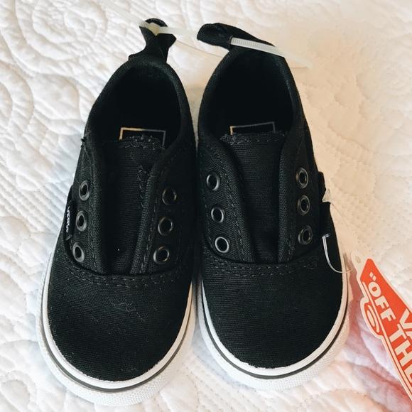 NEW Black Baby Slip-On Velvro Vans size 4 01b6df121